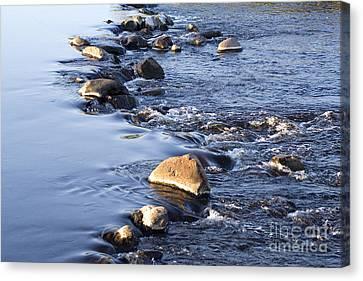 Rocks In A Weir Canvas Print by Liz Leyden