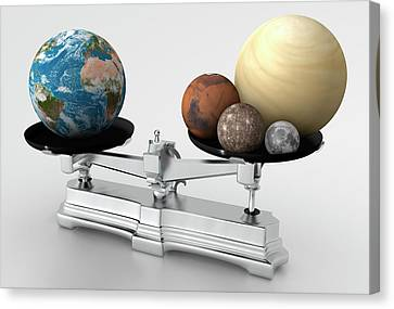 Rocky Planets' Mass Compared To Earth Canvas Print by Mark Garlick