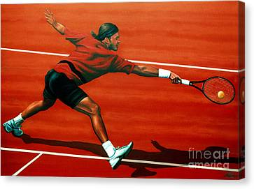 Slam Canvas Print - Roger Federer At Roland Garros by Paul Meijering
