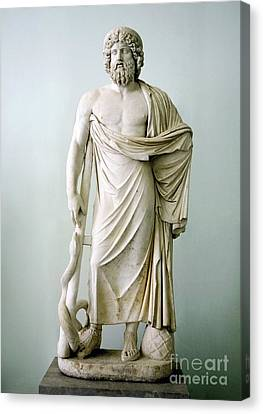 Roman Statue Of Asclepius Canvas Print by Sheila Terry