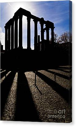 Roman Temple Silhouette Canvas Print