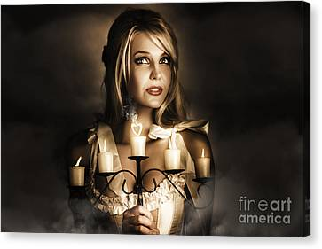 Romantic Blonde Woman Holding The Light Of Love Canvas Print