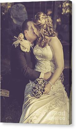 Nuptials Canvas Print - Romantic Bride And Groom Kissing Outdoors by Jorgo Photography - Wall Art Gallery