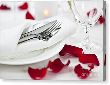 Stemware Canvas Print - Romantic Dinner Setting With Rose Petals by Elena Elisseeva