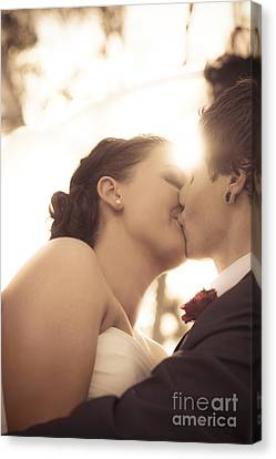 Nuptials Canvas Print - Romantic Wedding Kiss by Jorgo Photography - Wall Art Gallery