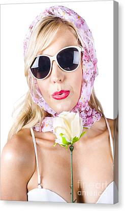 Romantic Woman With Flower Canvas Print by Jorgo Photography - Wall Art Gallery