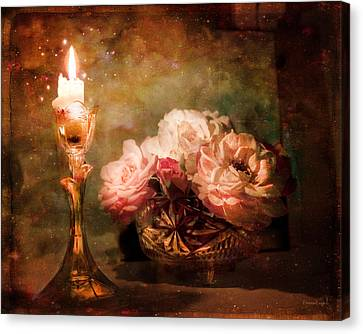 Roses By Candlelight Canvas Print by Theresa Tahara