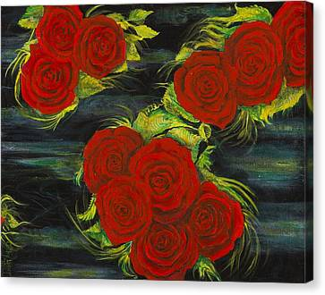 Roses Floating Canvas Print by Cathy Long