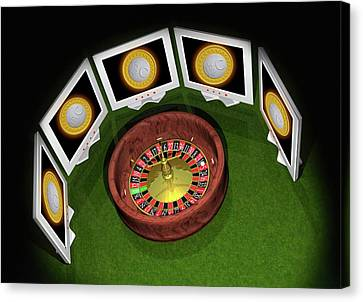 Roulette Wheel And Bitcoins Canvas Print