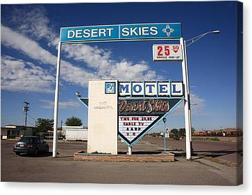 Route 66 - Desert Skies Motel Canvas Print by Frank Romeo