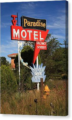 Route 66 - Paradise Motel Canvas Print by Frank Romeo