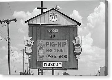 Route 66 - Pig-hip Restaurant Canvas Print by Frank Romeo