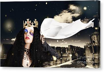 Royal Damsel In Distress Waving White Castle Flag Canvas Print by Jorgo Photography - Wall Art Gallery