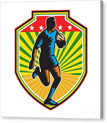 Rugby Player Running Ball Shield Retro Canvas Print