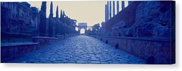 Ruins Along A Road At Dawn, Roman Canvas Print by Panoramic Images