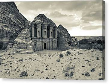 Nabatean Canvas Print - Ruins Of Ad Deir Monastery At Ancient by Panoramic Images