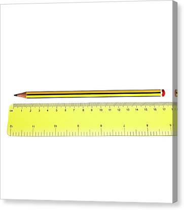 Ruler And Pencil Canvas Print by Science Photo Library