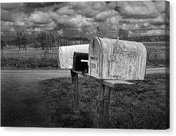 Rural Mailboxes Along A Country Road Canvas Print by Randall Nyhof