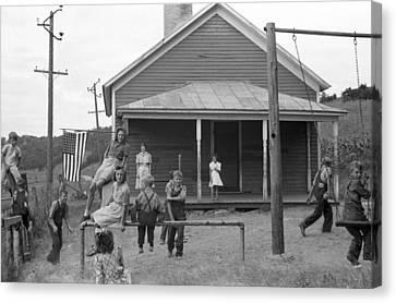 Schoolyard Canvas Print - Rural Schoolyard, 1939 by Granger