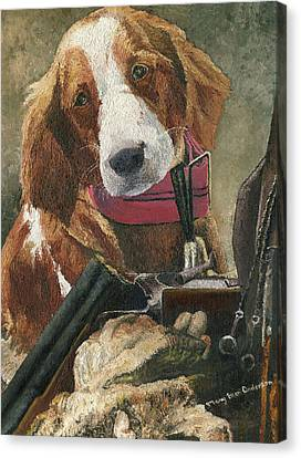 Canvas Print featuring the painting Rusty - A Hunting Dog by Mary Ellen Anderson