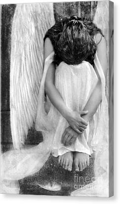 Sad Angel Woman Canvas Print by Jill Battaglia