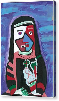 Canvas Print featuring the painting Sad Nun by Don Koester