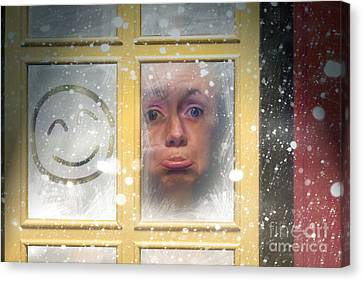 Sad Woman Stuck Indoors During Winter Snowstorm Canvas Print by Jorgo Photography - Wall Art Gallery