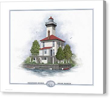 Saginaw River Lighthouse Canvas Print by Harry Hine