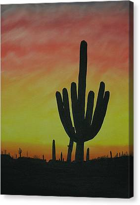 Saguaro Sunset Canvas Print by Aaron Thomas