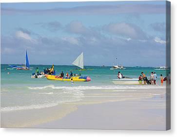 Sail Boats On The Beach, Boracay Canvas Print by Keren Su
