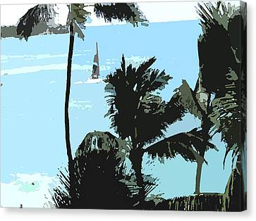 Sailboat And Luscious Palms Canvas Print by Karen Nicholson
