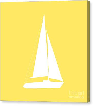 Sailboat In Yellow And White Canvas Print