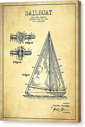 Sailboat Patent Drawing From 1938 - Vintage Canvas Print by Aged Pixel