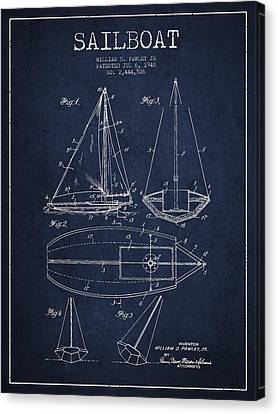 Sailboat Patent Drawing From 1948 Canvas Print