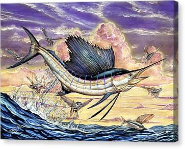 Sailfish And Flying Fish In The Sunset Canvas Print