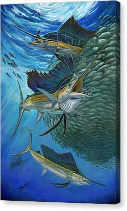Sailfish With A Ball Of Bait Canvas Print
