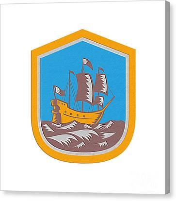 Sailing Ship Galleon Crest Retro Woodcut Canvas Print