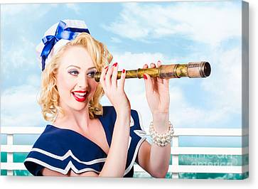 Sailor Girl Pin-up Looking Through Telescope Canvas Print by Jorgo Photography - Wall Art Gallery