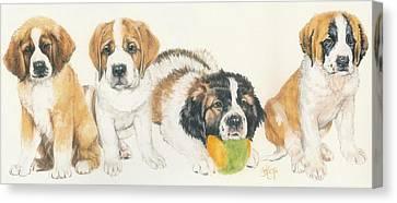 Working Dog Canvas Print - Saint Bernard Puppies by Barbara Keith