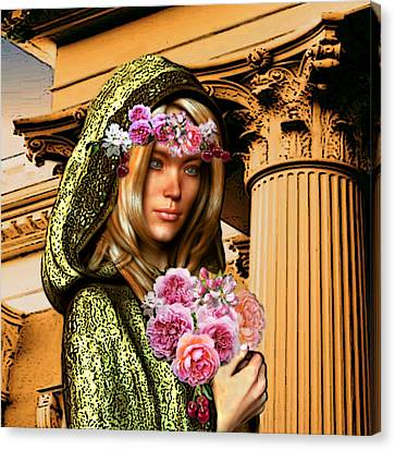 Canvas Print featuring the painting Saint Dorothy Of Caesarea by Suzanne Silvir