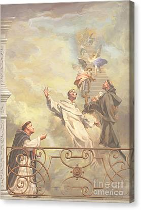 Saints Dominic Benedict And Francis Of Assisi II Canvas Print by John Alan  Warford