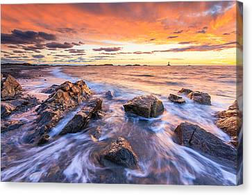New England Lighthouse Canvas Print - Sakonnet Sunset by Bryan Bzdula
