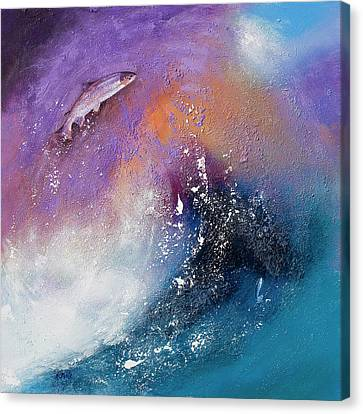 Salmon Leap Canvas Print by Neil McBride