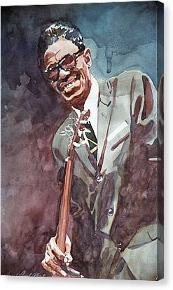 Sam Lightnin Hopkins Canvas Print by David Lloyd Glover