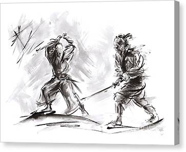 Samurai Fight. Canvas Print by Mariusz Szmerdt