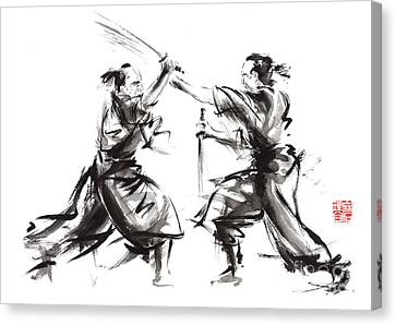 Samurai Sword Bushido Katana Martial Arts Budo Sumi-e Original Ink Sword Painting Artwork Canvas Print by Mariusz Szmerdt