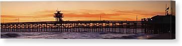 San Clemente Municipal Pier In Sunset Canvas Print by Richard Cummins