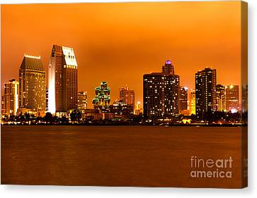 San Diego Skyline At Night Canvas Print by Paul Velgos