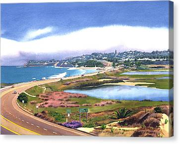 San Elijo And Hwy 101 Canvas Print by Mary Helmreich