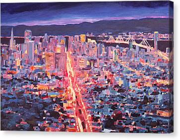 San Francisco - Market Street Night From Twin Peaks Canvas Print